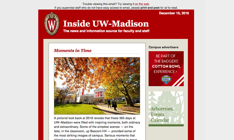 Screenshot of Inside UW-Madison website