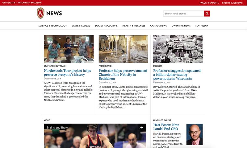 Screenshot of news website