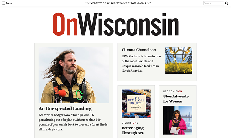Screenshot of OnWisconsin website
