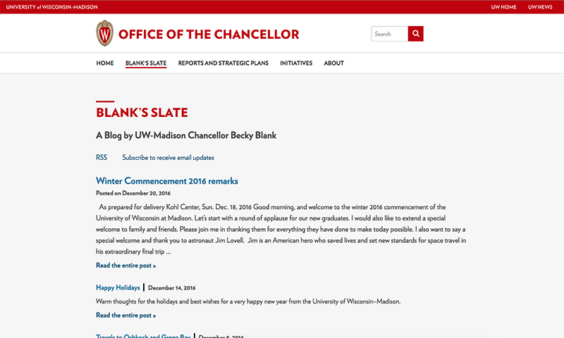 Screenshot of the official website for the Chancellor at UW-Madison