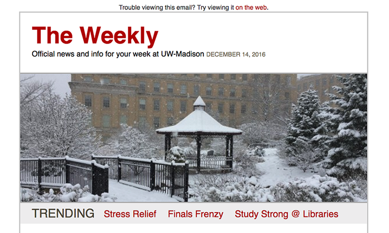 Screenshot of the website for The Weekly