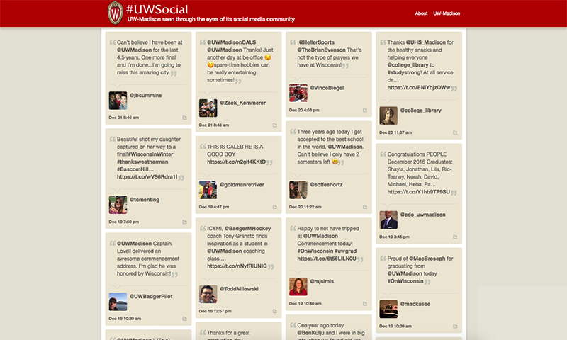 Screenshoot of UW-Madison social media website