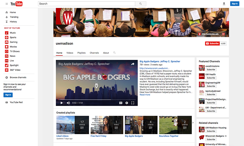 Screenshot of UW-Madison's official YouTube presence