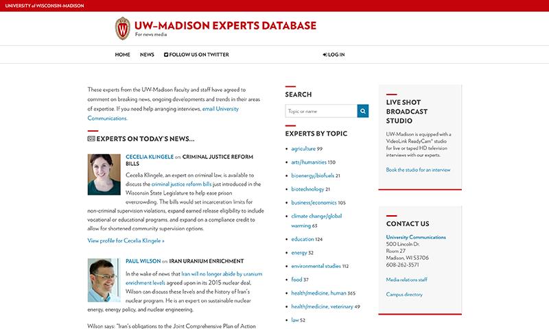 Experts Database at UW-Madison