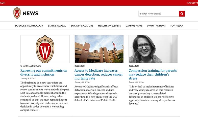 Screen shot of UW News