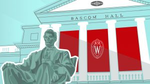 graphic of abe lincoln in front of bascom in red and teal blue